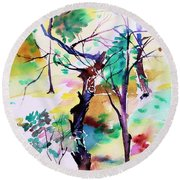 Round Beach Towel featuring the painting Tree Lovers by Mindy Newman