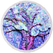Round Beach Towel featuring the painting Tree Menagerie by Genevieve Esson