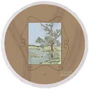 Tree Mirror In Lake Round Beach Towel