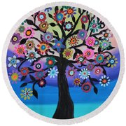 Blooming Tree Of Life Round Beach Towel