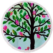 Round Beach Towel featuring the painting Tree Of Essence by Pristine Cartera Turkus
