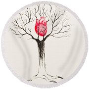 Tree Of Hearts Round Beach Towel by Stefanie Forck