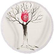 Tree Of Hearts Round Beach Towel