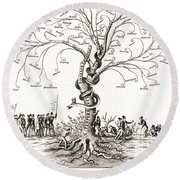 Tree Of Intemperance 1855 Round Beach Towel