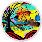 Tree Of Life Abstract Painting  Round Beach Towel