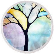 Round Beach Towel featuring the painting Tree Of Life by Edwin Alverio