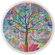 Round Beach Towel featuring the digital art Tree Of Life by Eleni Mac Synodinos