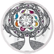 Tree Of Life - Ink Drawing Round Beach Towel