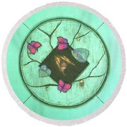 Round Beach Towel featuring the painting Tree Of Life by Mini Arora
