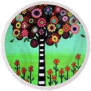 Tree Of Life Round Beach Towel by Pristine Cartera Turkus