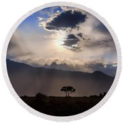 Round Beach Towel featuring the photograph Tree Of Light by Cat Connor