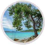 Tree On Northern Dalmatian Coast Beach, Croatia Round Beach Towel