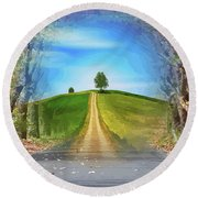 Tree On The Hill Montage Round Beach Towel