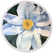 Round Beach Towel featuring the painting Tree Peony by Laurie Rohner