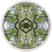 Tree Photo Fractal Round Beach Towel