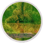 Round Beach Towel featuring the photograph Tree Reflection June 2016 by Leif Sohlman
