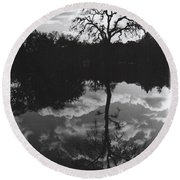 Tree Reflection Sebastopol Ca, Round Beach Towel