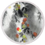 Tree Shadows And Fall Leaves Round Beach Towel