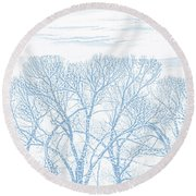 Round Beach Towel featuring the photograph Tree Silhouette Blue by Jennie Marie Schell