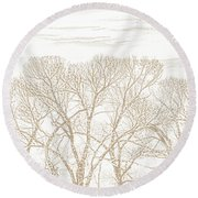 Round Beach Towel featuring the photograph Trees Silhouette Brown by Jennie Marie Schell