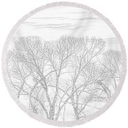 Round Beach Towel featuring the photograph Tree Silhouette Gray by Jennie Marie Schell