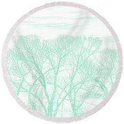 Round Beach Towel featuring the photograph Tree Silhouette Teal by Jennie Marie Schell