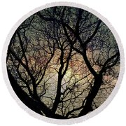 Round Beach Towel featuring the photograph Tree Silhouette With Stars. by Yulia Kazansky