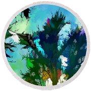 Tree Spirit Abstract Digital Painting Round Beach Towel