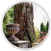 Tree Stump And Concrete Planter Round Beach Towel