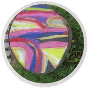 Tree Stump In Abstract - Bellingham - Lewisham Round Beach Towel