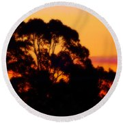 Tree Sunset Round Beach Towel
