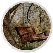 Tree Swing By The Lake Round Beach Towel by Deborah Benoit