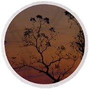 Tree Top After Sunset Round Beach Towel by Donald C Morgan
