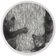 Round Beach Towel featuring the drawing Tree Trio  by Meagan  Visser