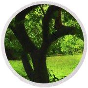 Tree Trunk Green Round Beach Towel