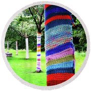 Tree Trunks Round Beach Towel