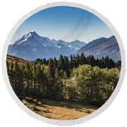 Round Beach Towel featuring the photograph Tree View Of Mt Cook Aoraki by Gary Eason