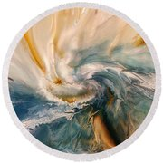 Round Beach Towel featuring the digital art Tree Wind by Linda Sannuti