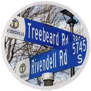 Treebeard And Rivendell Street Signs Round Beach Towel by Gary Whitton