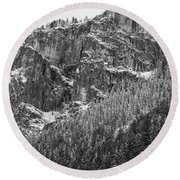 Round Beach Towel featuring the photograph Treefall by Lora Lee Chapman