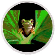 Round Beach Towel featuring the mixed media Treefrog by Charles Shoup