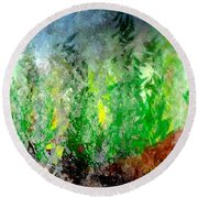 Round Beach Towel featuring the painting Trees 4 by John Krakora