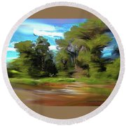 Trees Along The River Round Beach Towel
