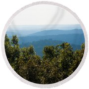 Round Beach Towel featuring the photograph Trees And Rolling Hills by Parker Cunningham