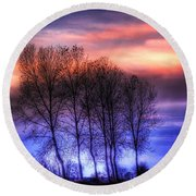Trees And Twilight Round Beach Towel