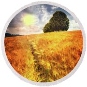 Round Beach Towel featuring the photograph Trees At The Top by Debra and Dave Vanderlaan