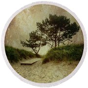 Trees By The Sea Round Beach Towel