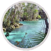 Trees By The Spring Round Beach Towel
