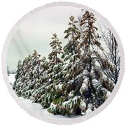 Trees Covered In Snow Round Beach Towel
