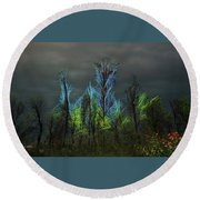 Trees Electrified In Fantasy Land Round Beach Towel